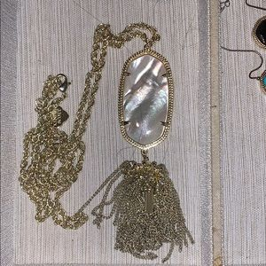 kendra white and gold long necklace